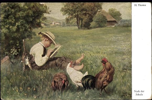 Künstler Ak Thoma, Hans, Nach der Schule, Junge malt im Gras, Hühner, Katze