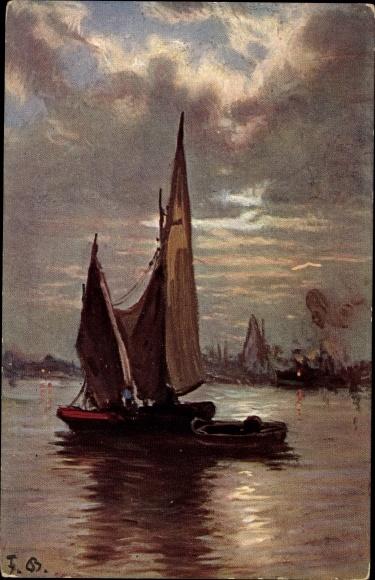 Künstler Ak Bayerlein, Fritz, Segelboot auf einem See, Wolken