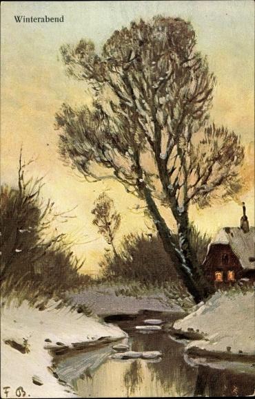 Künstler Ak Bayerlein, Fritz, Winterabend, Flusslandschaft, Wohnhaus