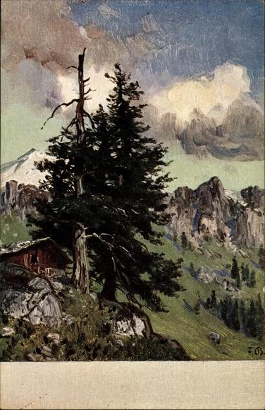 Künstler Ak Bayerlein, Fritz, Gebirgslandschaft mit Holzhütte und Nadelbaum