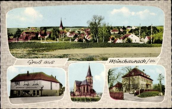 Ak Münchaurach Aurachtal in Mittelfranken, Stadtansichten, Panorama, Bäckerei