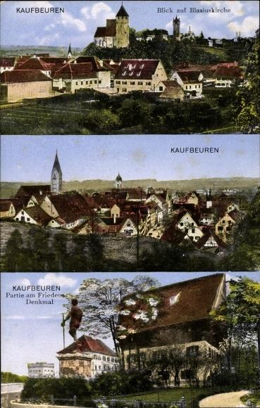 Ak Kaufbeuren am Wertach in Schwaben, Stadtpanorama, Blasiuskirche, Friedensdenkmal