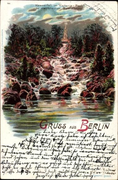 Litho Berlin Kreuzberg, Wasserfall im Viktoria Park bei elektrischer Beleuchtung