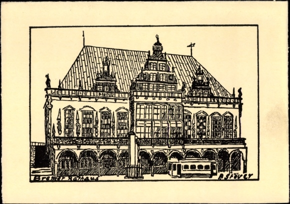 Künstler Ak Stöver, P., Hansestadt Bremen, Bremer Rathaus