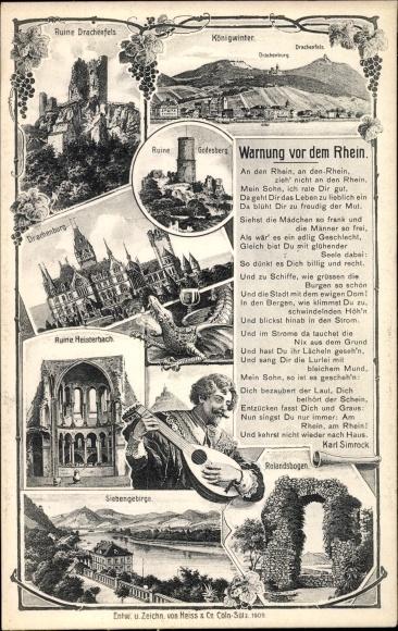 Ak Königswinter im Rhein Sieg Kreis, Ruine Drachenfels, Drachenburg, Lied Warnung vor dem Rhein