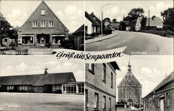 Ak Sengwarden Wilhelmshaven in Niedersachsen, Dorfstraße, Kaufhaus Renken Olthoff, Schule, Kirche