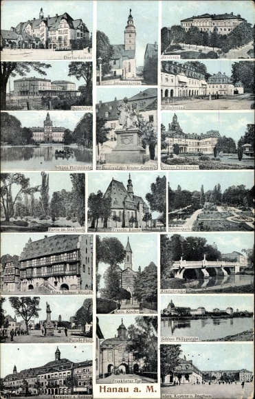 Ak Hanau im Main Kinzig Kreis Hessen, Eberhard Schule, Schloss Philippsruhe, Kirche, Rathaus, Park