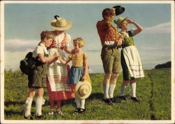 Ak Indanthren Reklame, Hinaus ins Freie mit indanthrenfarbiger Kleidung, Textilien