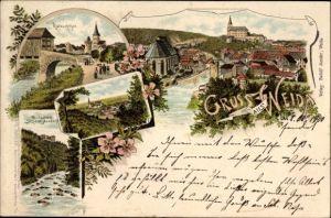Litho Weida im Kreis Greiz Thüringen, Katzschtor, Restaurant Schöne Aussicht, Stadtpanorama