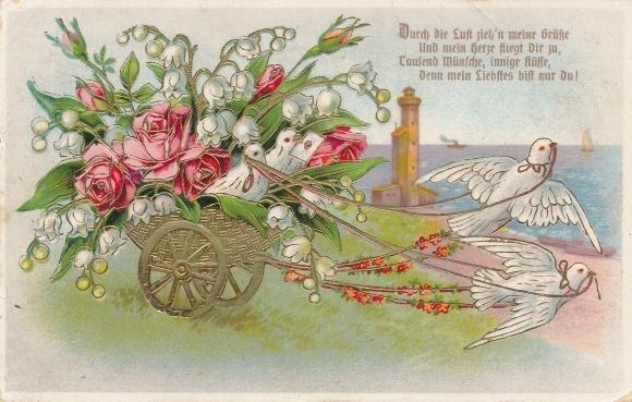 pr ge ak schwalben ziehen einen wagen voller rosen nr 6889977 oldthing pflanzen tiere. Black Bedroom Furniture Sets. Home Design Ideas