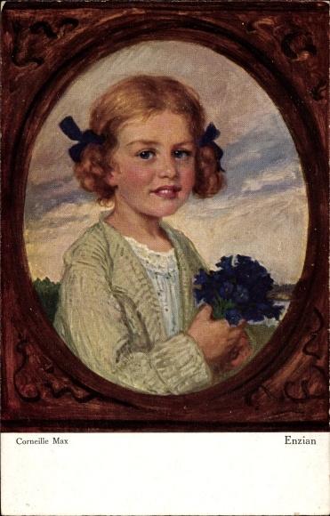 Künstler Ak Corneille, Max, Enzian, Junges Mädchen mit Blumen, Primus 3047