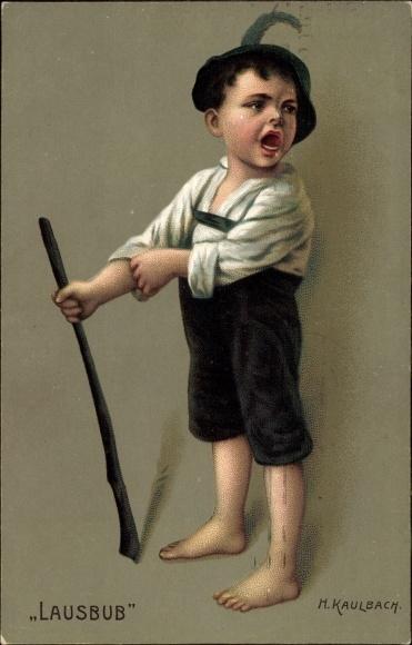 Künstler Litho Kaulbach, Hermann, Lausbub, kleiner frecher Bauernjunge, Novitas 10680