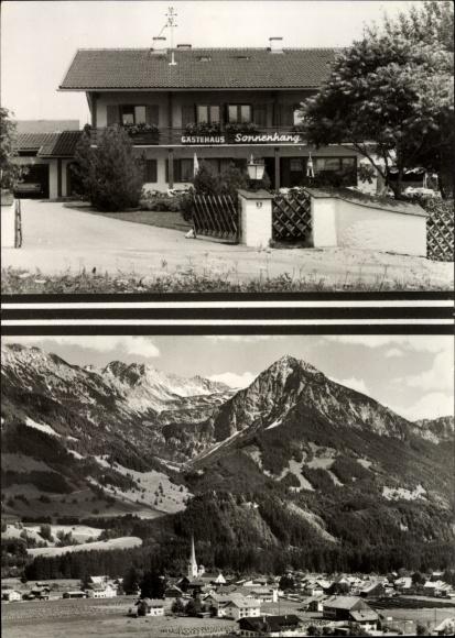 Ak Fischen im Allgäu in Schwaben, Gästehaus Sonnenhang, Inh. H. Sckell, Landschaftsblick
