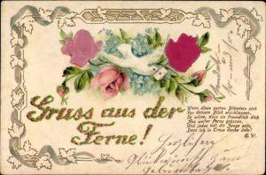 Material Präge Litho Gruß aus der Ferne, Brieftaube, Rosenblüten, Vergissmeinnicht