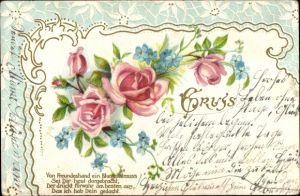Präge Litho Von Freundeshand ein Blumengruß sei Dir heut dargebracht, Rosenblüten