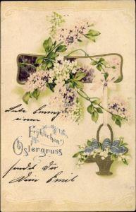 Präge Litho Glückwunsch Ostern, Ostereier in einem Weidenkorb, Fliederzweige