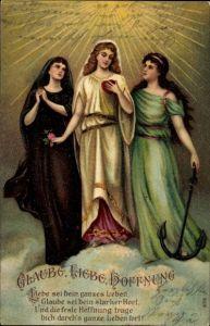 Präge Litho Allegorien Glaube Liebe Hoffnung, Anker, Herz, Rose