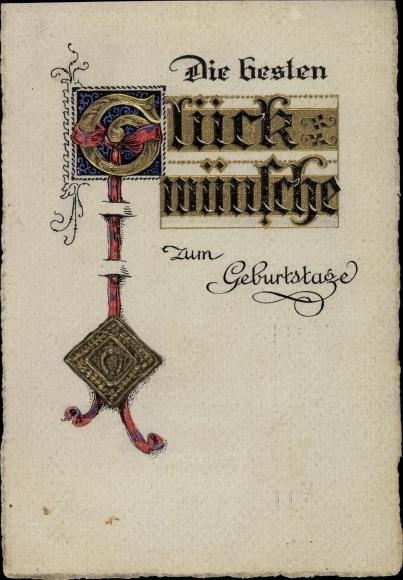 Prage Ak Gluckwunsch Geburtstag Urkunde Siegel Majuskel