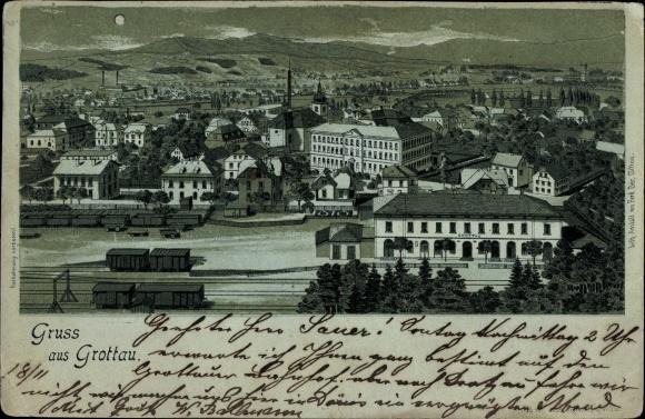 Mondschein Litho Hrádek nad Nisou Grottau Reg. Reichenberg, Totalansicht, Bahnhof