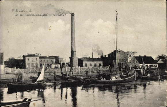 Ak Baltijsk Pillau Kaliningrad Ostpreußen, An der Fischverwetungsfabrik Germania