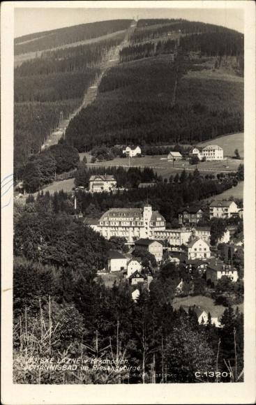 Ak Janské Lázně Johannisbad Riesengebirge Reg. Königgrätz, Teilansicht vom Ort, Seilbahn