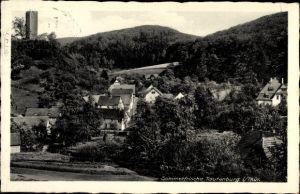 Ak Tautenburg Saale Holzland Kreis, Teilansicht des Ortes mit Umgebung, Turm