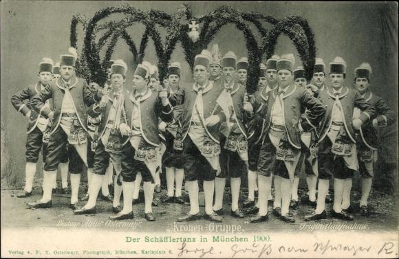 Ak München Bayern, Schäfflertanz 1900, Tänzer, Kostüme