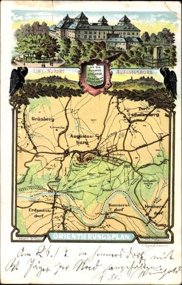 Landkarten Litho Augustusburg im Erzgebirge, Grünberg, Kunnersdorf, Schloss