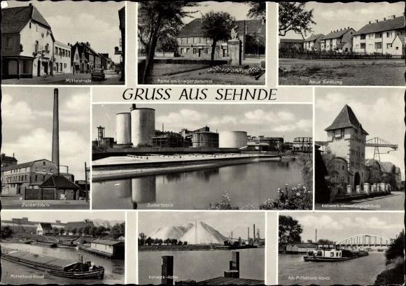 Ak Sehnde in Niedersachsen, Zuckerfabrik, Kriegerdenkmal, Mittelland Kanal, Kaliwerk Hafen, Siedlung