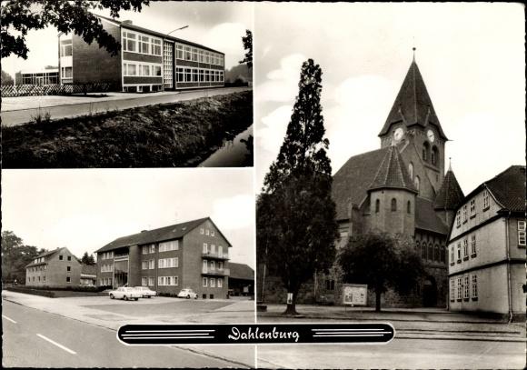 Ak Dahlenburg Niedersachsen, Strassenansicht, Kirche, Schule