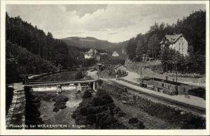 Ak Floßplatz Wolkenstein Erzgebirge, Flusspartie mit Blick auf den Ort, Bahnhof, Bahnstrecke, Wehr