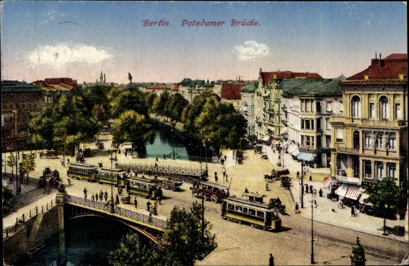 Ak Berlin Tiergarten, Partie auf der Potsdamer Brücke, Straßenbahnen