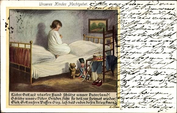 Ak Unseres Kindes Nachtgebet, Schütze unser Vaterland, schütze uns're Väter, Puppe, Teddy