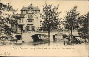 Ak Aue im Erzgebirge Sachsen, König Albert Brücke mit Restaurant Zum Muldental
