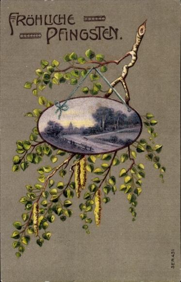 Präge Litho Glückwunsch Pfingsten, Landschaft an einem Ast hängend
