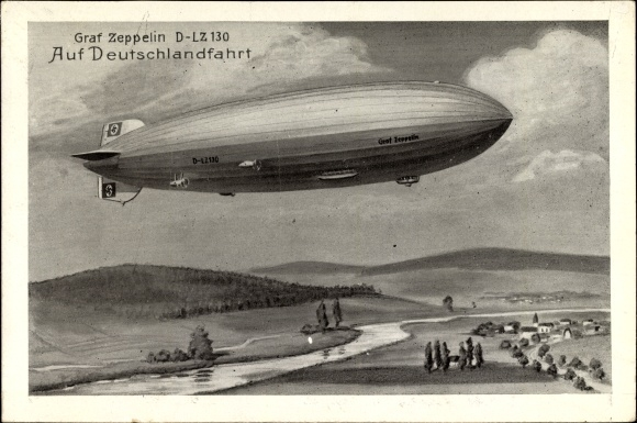 Künstler Ak Graf Zeppelin, LZ 130, Deutschlandfahrt, Graf Zeppelin II., 14. September 1938