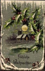 Präge Litho Glückwunsch Weihnachten, Stechpalmenzweige, Vögel, Kirche, Schneefall