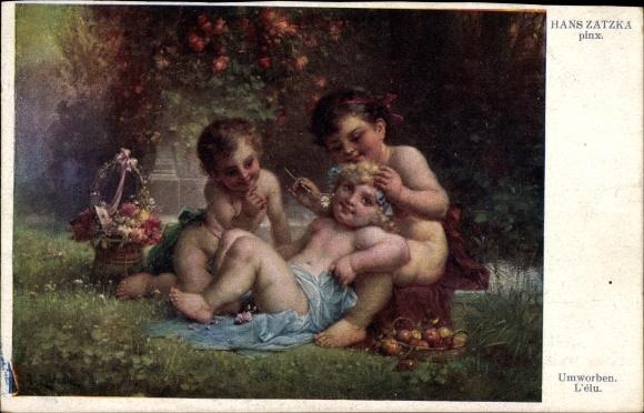 Künstler Ak Zatzka, Hans, Umworben, Cherubs im Garten