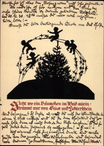 k nstler ak braut mit weihnachtsbaum weihnachtsengeln nr. Black Bedroom Furniture Sets. Home Design Ideas