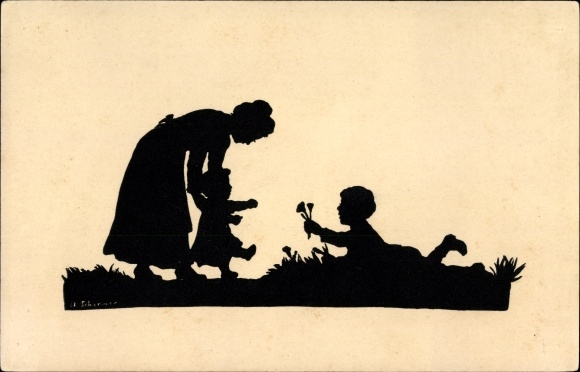 Scherenschnitt Ak Schirmer, Anna, Der erste Schritt, Mutter mit Kindern, Ackermann Serie 152 Nr 1819