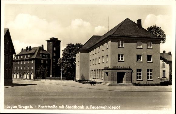 Ak Lugau Erzgebirge, Poststraße mit Stadtbank und Feuerwehrdepot