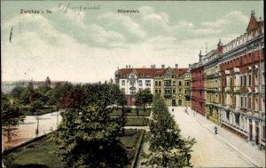 Ak Zwickau in Sachsen, Partie am Römerplatz, Parkanlagen