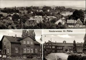 Ak Niederwiesa Kreis Flöha in Sachsen, Ortsblick, Rathaus, Bahnhof