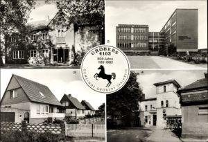Ak Gröbers Kabelsketal Sachsen Anhalt, Kulturhaus, Oberschule Lenin, Bahnhof, Eigenheimsiedlung