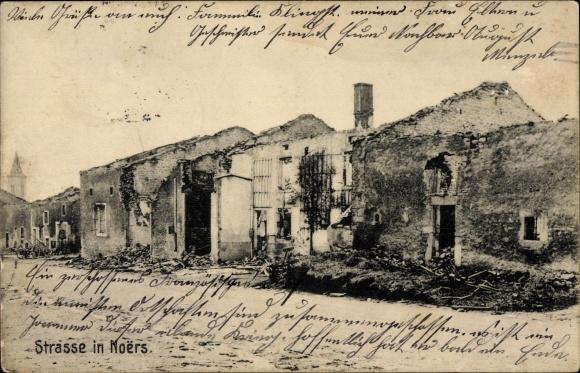 Ak Noërs Longuyon Lothringen Meurthe et Moselle, Straße, Kriegszerstörungen, I. WK
