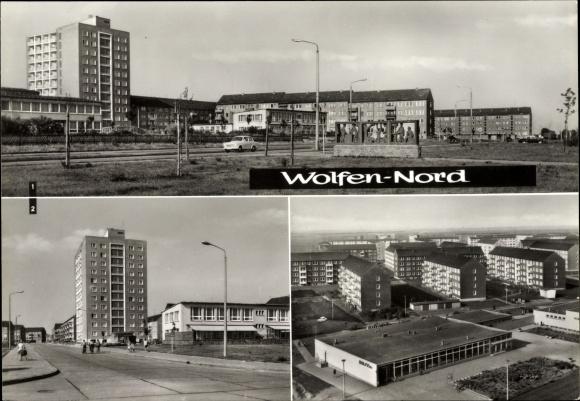 Ak Wolfen in Sachsen Anhalt, Nord, Straße der Chemiearbeiter, Straße der Republik, Kinderkrippe