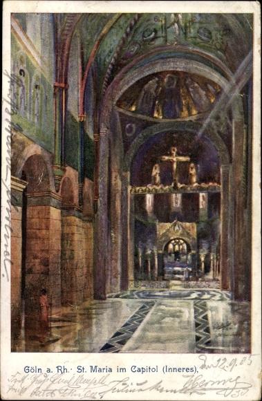 Künstler Ak Köln am Rhein, Blick in die Kirche St. Maria im Capitol