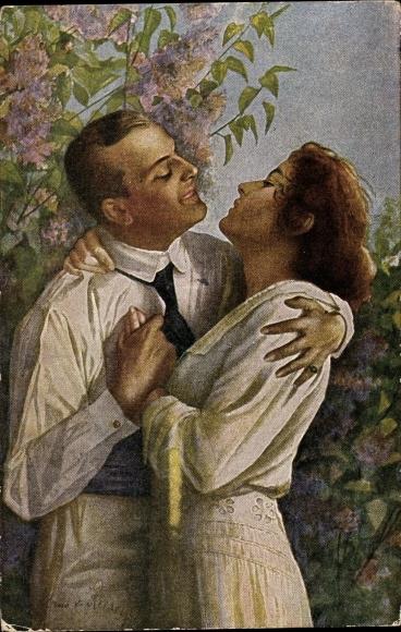 Künstler Ak von Riesen, A., Im Frühling des Lebens, Liebespaar, Umarmung