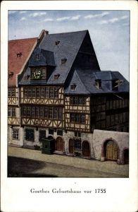 Künstler Ak Frankfurt am Main, Straßenpartie mit Blick auf Goethes Geburtshaus vor 1755