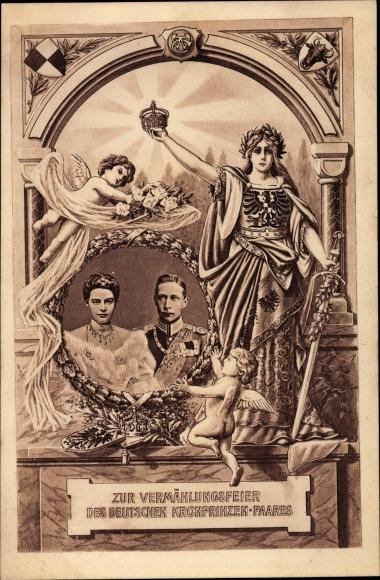 Ak Kronprinz Wilhelm von Preußen, Kronprinzessin Cecilie von Preußen, Vermählungsfeier, Germania